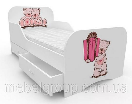 Кроватка стандарт с цельным бортиком Мишки с подарком, фото 2