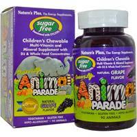 Жевательные мультивитамины для детей, Nature's Plus,без сахара, виноград, 90 конфет