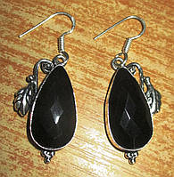 """Элегантные серьги с черным ониксом """"Кизил"""" от студии  LadyStyle.Biz, фото 1"""