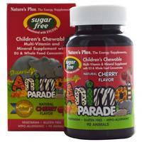 Жевательные мультивитамины для детей, Nature's Plus,без сахара, вишня, 90 конфет