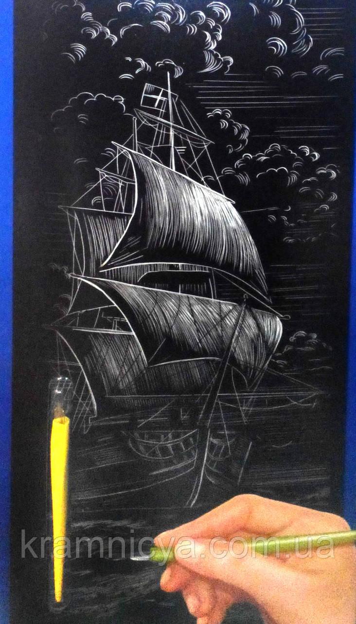 Гравюра панорама 'Корабль' Серебро (ГР-В2-02-05с)