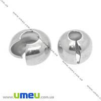 Бусина зажимная Кримп, 4 мм, Светлое серебро, 1 шт (BUS-008453)