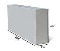 Газоблок Аeroc перегородочный высший сорт 150х200х600 D-500