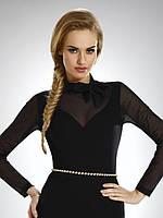 Женская блуза черного цвета с воротником-стойка и прозрачными рукавами, модель Elvira Eldar