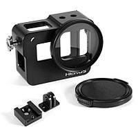 Алюминиевый корпус для экшн камер GoPro Hero 5, 6, 7 с фильтром 52 UV и крышкой (код № XTGP433)
