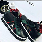 Высокие стильные ботинки  женские  Gucci чёрные, белые