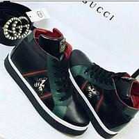 Высокие стильные ботинки  женские  Gucci чёрные, белые , фото 1