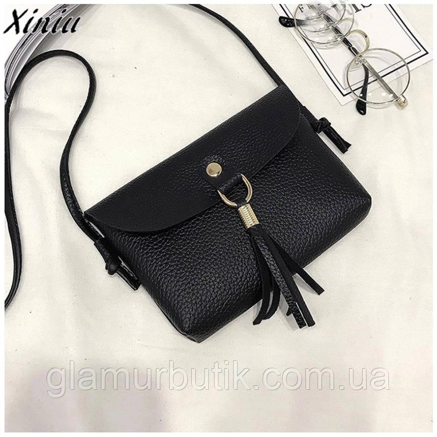 Красивая маленькая кожаная женская сумка сумочка клатч кошелек с кисточками  длинным ремнем чёрная - GlamurButik - 2142037612d