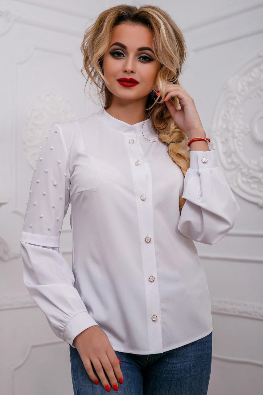 Стильная женская белая блузка, размеры 42 и 44