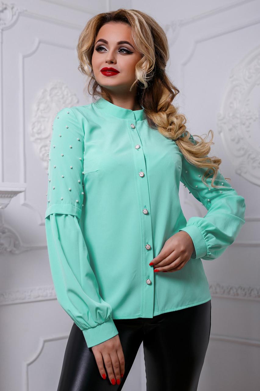 Стильная женская блузка мятного цвета
