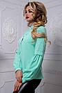 Стильная женская блузка мятного цвета, фото 3