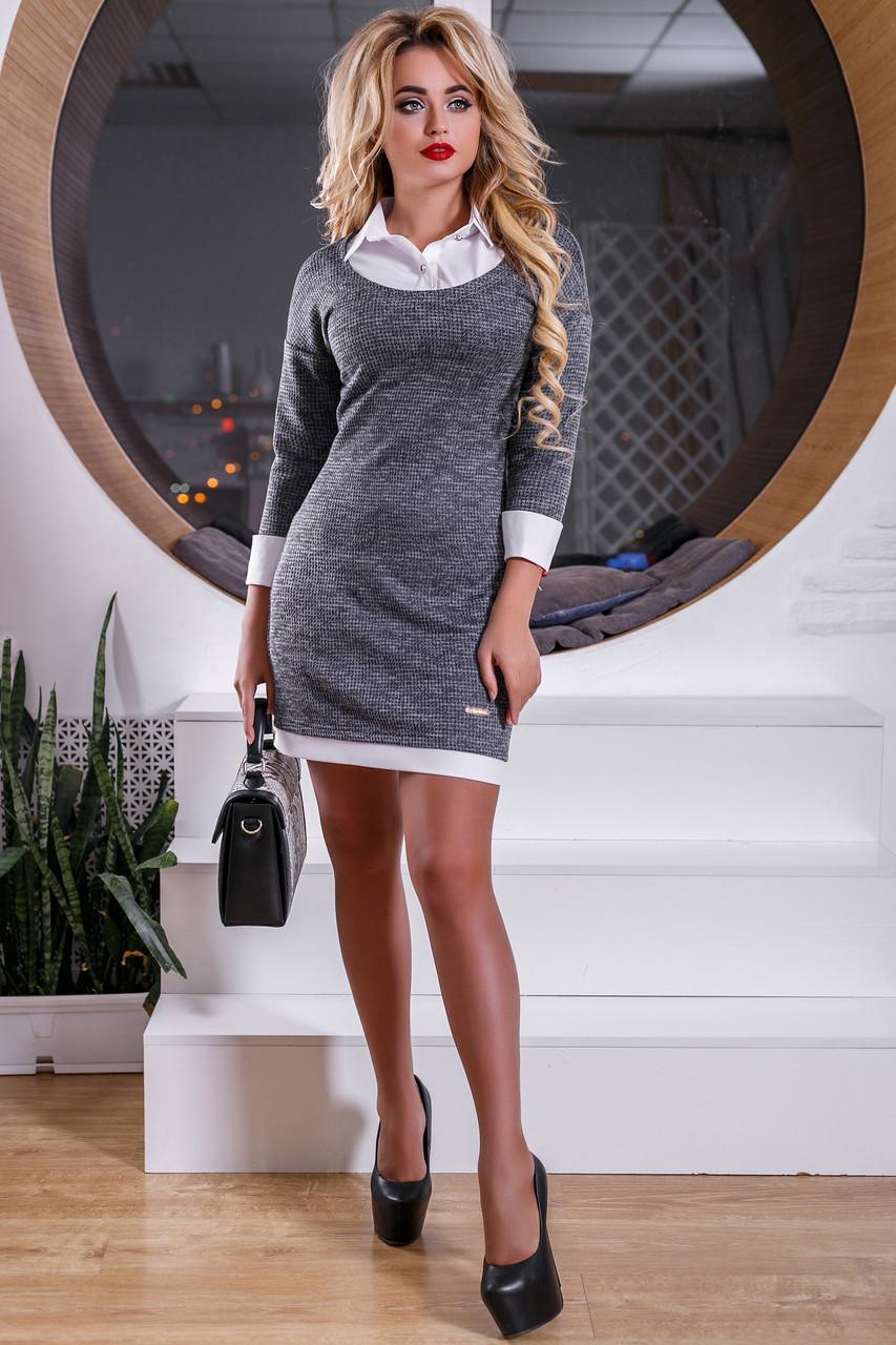 6d36c1f4b2c Стильное Платье Рубашка Офисный Дресс-Код Серое М-2XL - Ukraine In Trend -