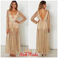 Платье боди вшито в люрексо-фатиновую сетку украшенную золотой блесткой, на рост до 175 см. (12015)
