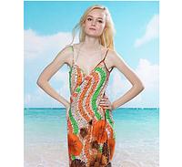 Пляжное платье-трансформер Незабудки оранжевые
