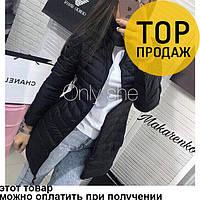 Женская куртка черного цвета, длинная / Женская куртка, стильная, на длинный рукав, без капюшона