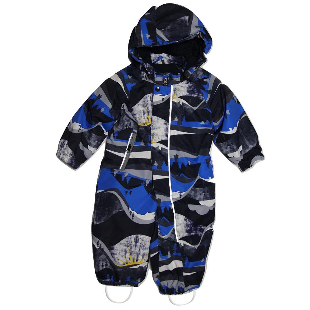 Красивый демисезонный термокомбинезон для мальчика от 6 месяцев до 2 лет синий