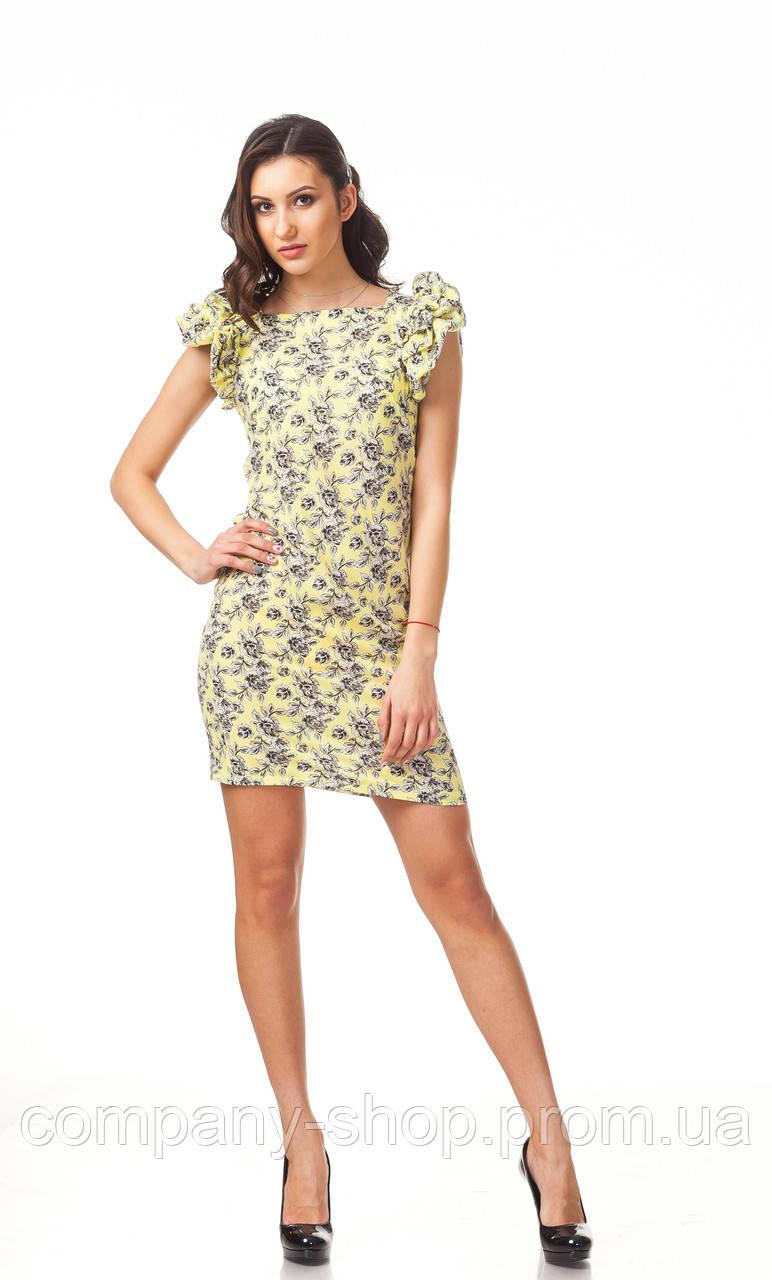 Летнее платье с пышными рукавами. Модель П110_желтый цветочек.