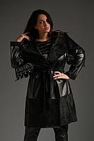 """Кожаное женское пальто на запах """"DIRIO"""" с карманами и перфорацией (большие размеры)"""
