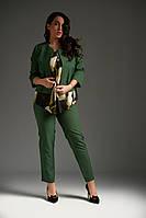 """Деловой брючный женский костюм-тройка """"Islin+"""" с блузой и жакетом (большие размеры)"""
