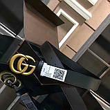 Ремінь Гуччі чорний, з бронзою, 3.4 см, пояс унісекс, натуральна шкіра, фото 4