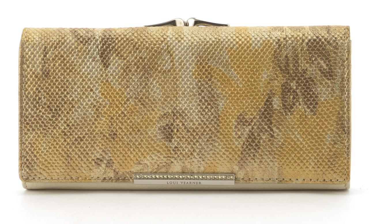 Оригинальный гламурный женский кошелек с очень качественной кожи LOUI VEARNER art. LOU38-2019C золотой перелив