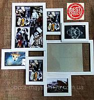 Деревянная эко мультирамка, коллаж #407 белый, венге, орех, чёрный., фото 1