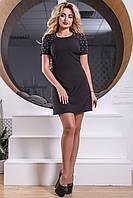 Нежное Короткое Платье Декорировано Жемчугом Черное S-XL, фото 1