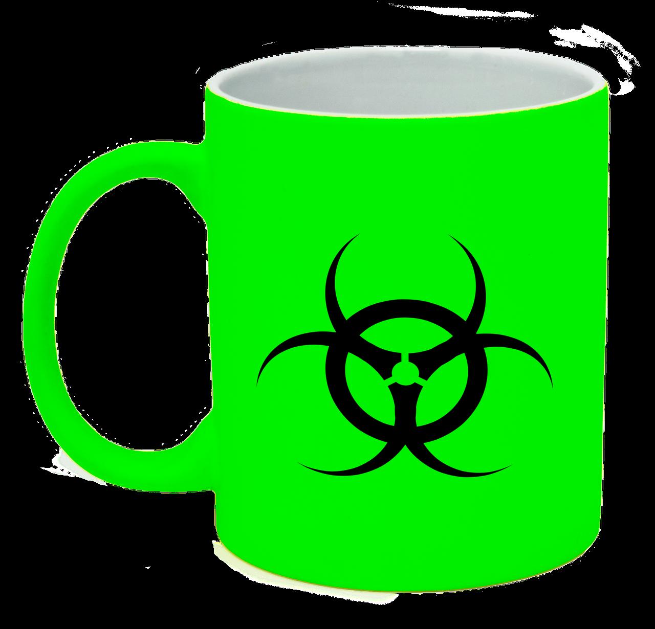 Неоновая матовая чашка Биологическая опасность, ярко-зеленая
