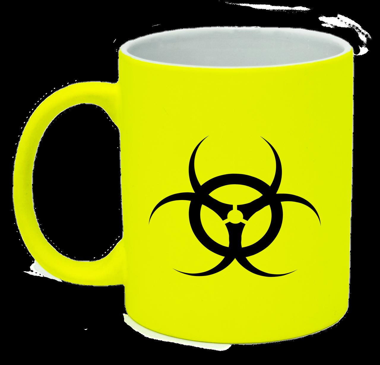 Неоновая матовая чашка Биологическая опасность, ярко-желтая