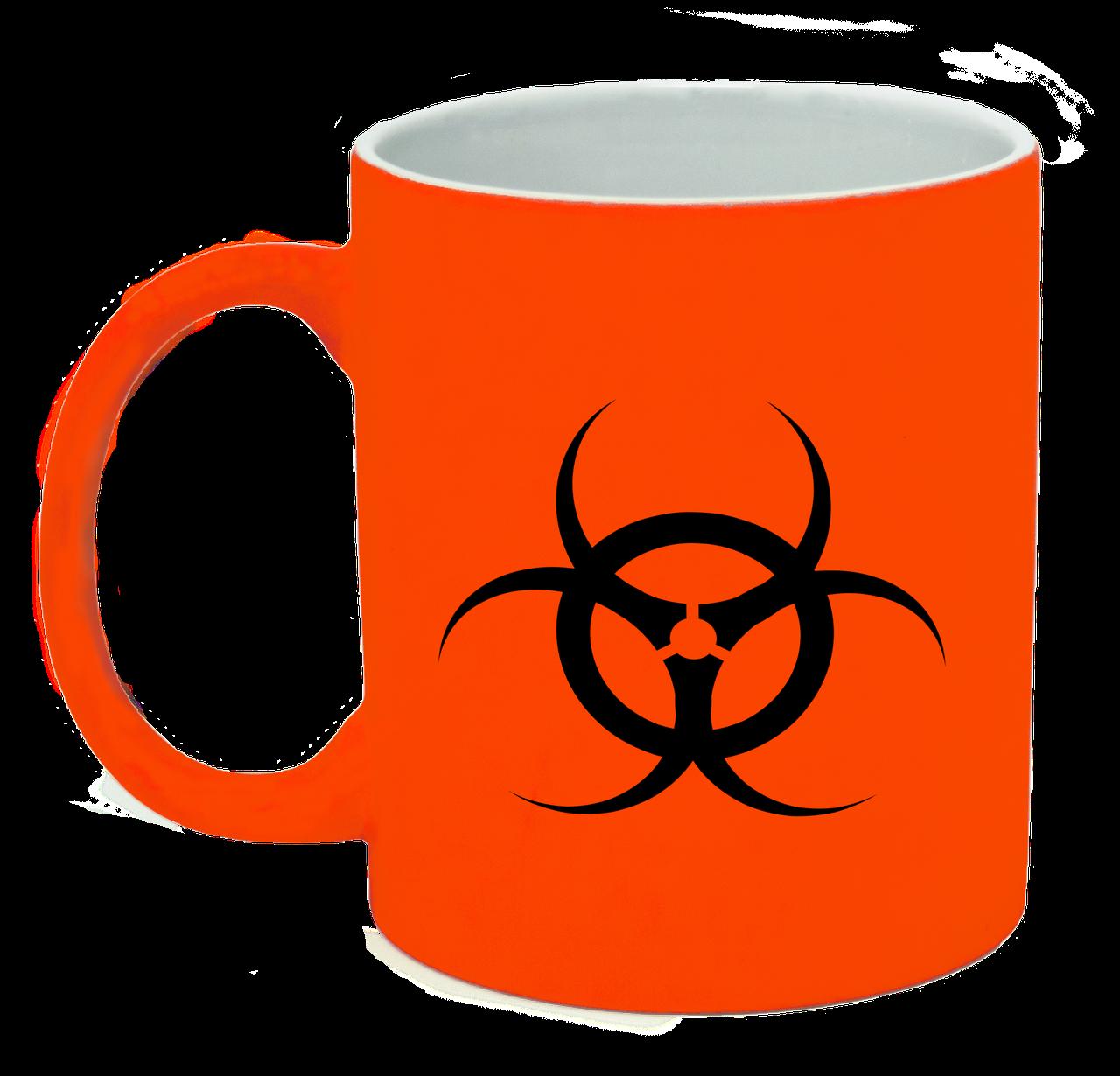 Неоновая матовая чашка Биологическая опасность, ярко-оранжевая