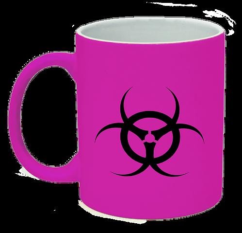 Неоновая матовая чашка Биологическая опасность, ярко-розовая