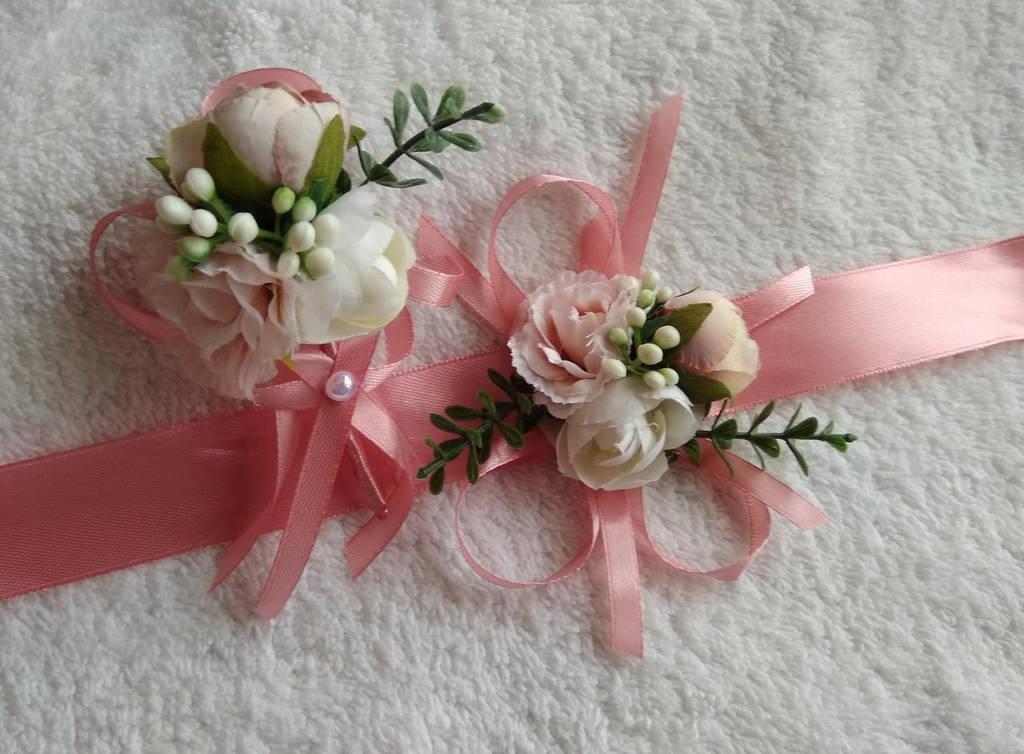 Набор бутоньерок в любом цвете, бутоньерка+браслет