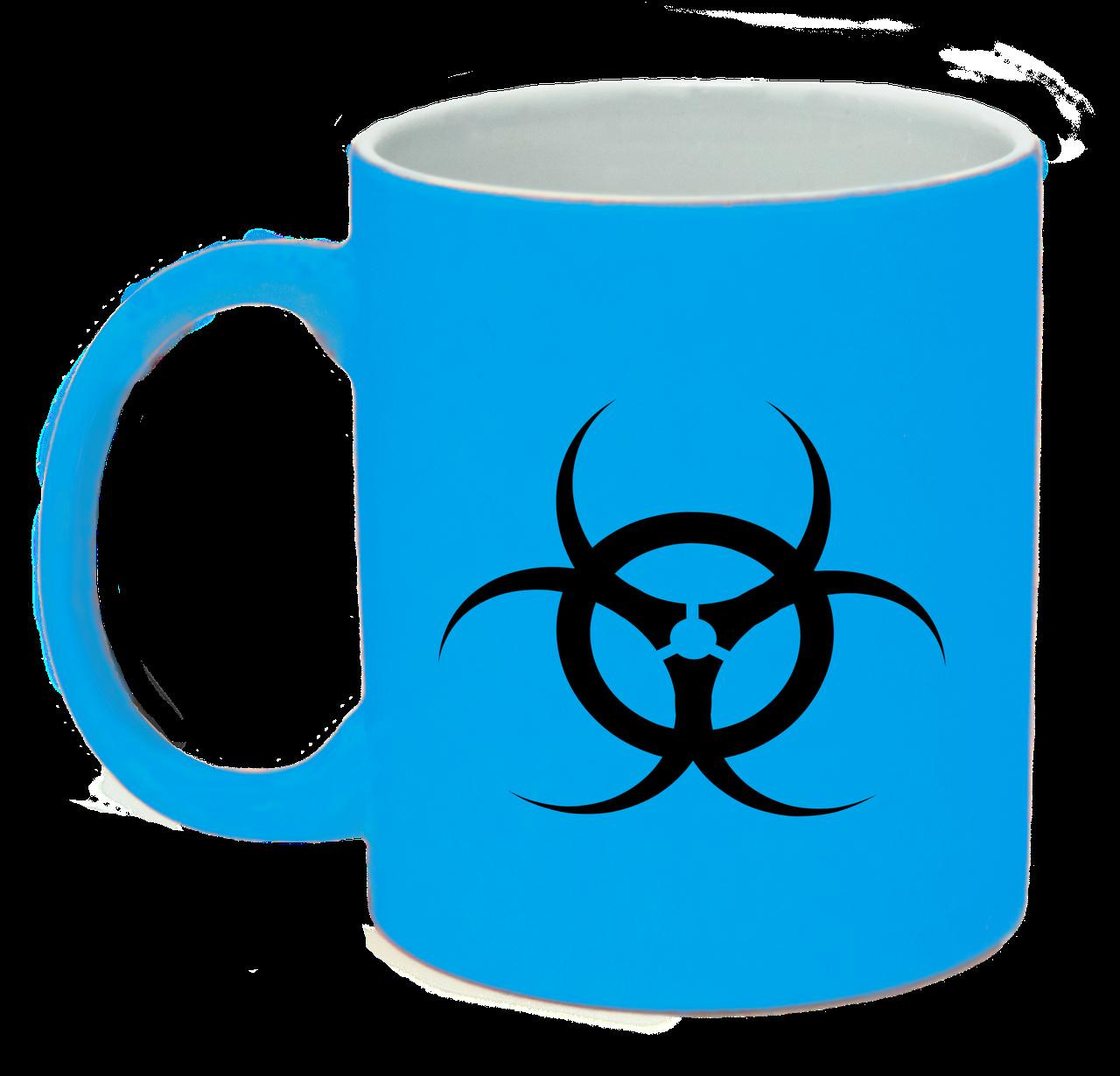 Неоновая матовая чашка Биологическая опасность, ярко-голубая