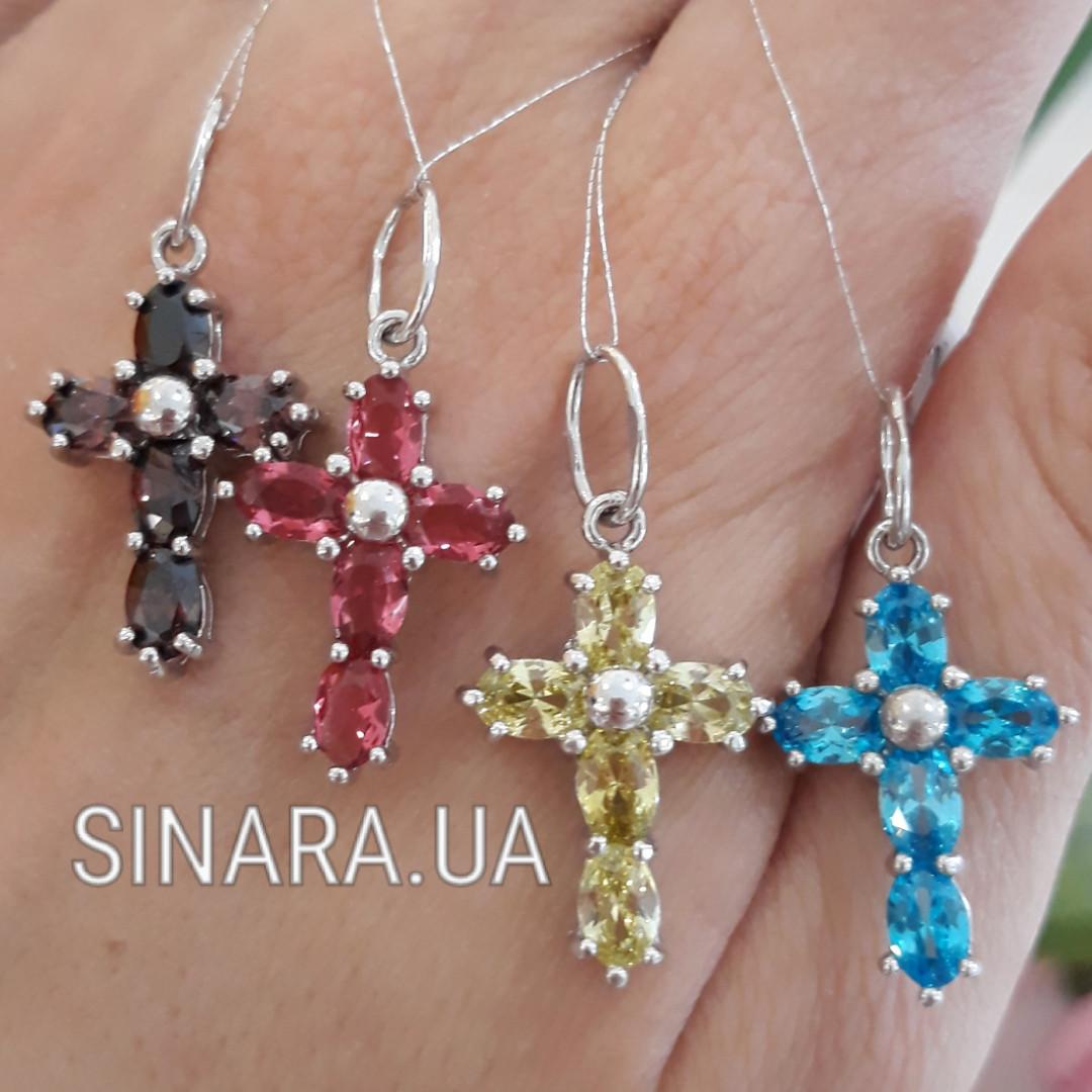 Серебряный крестик с камнями - Крестик с камушками - Крестик с камнями серебро