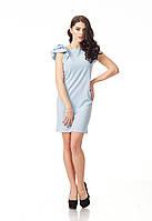 Летнее платье с пышными рукавами. Модель П110_голубое сердечко.