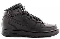 """Кроссовки кожаные Nike Air Force 1 High """"Black"""" Арт. 0030"""