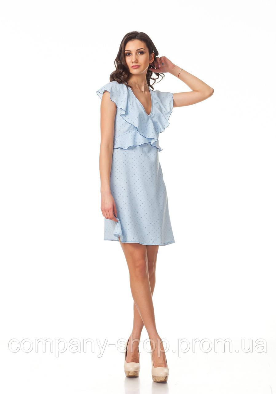 Платье с рюшами по груди оптом. Модель П113_сердечко голубое.