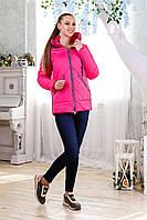 Женская демисезонная малиновая куртка  В-1091 Лаке Тон 111 44-54 размеры