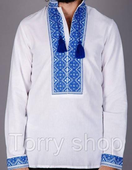 Мужская вышитая сорочка на домотканном лене, синий орнамент.
