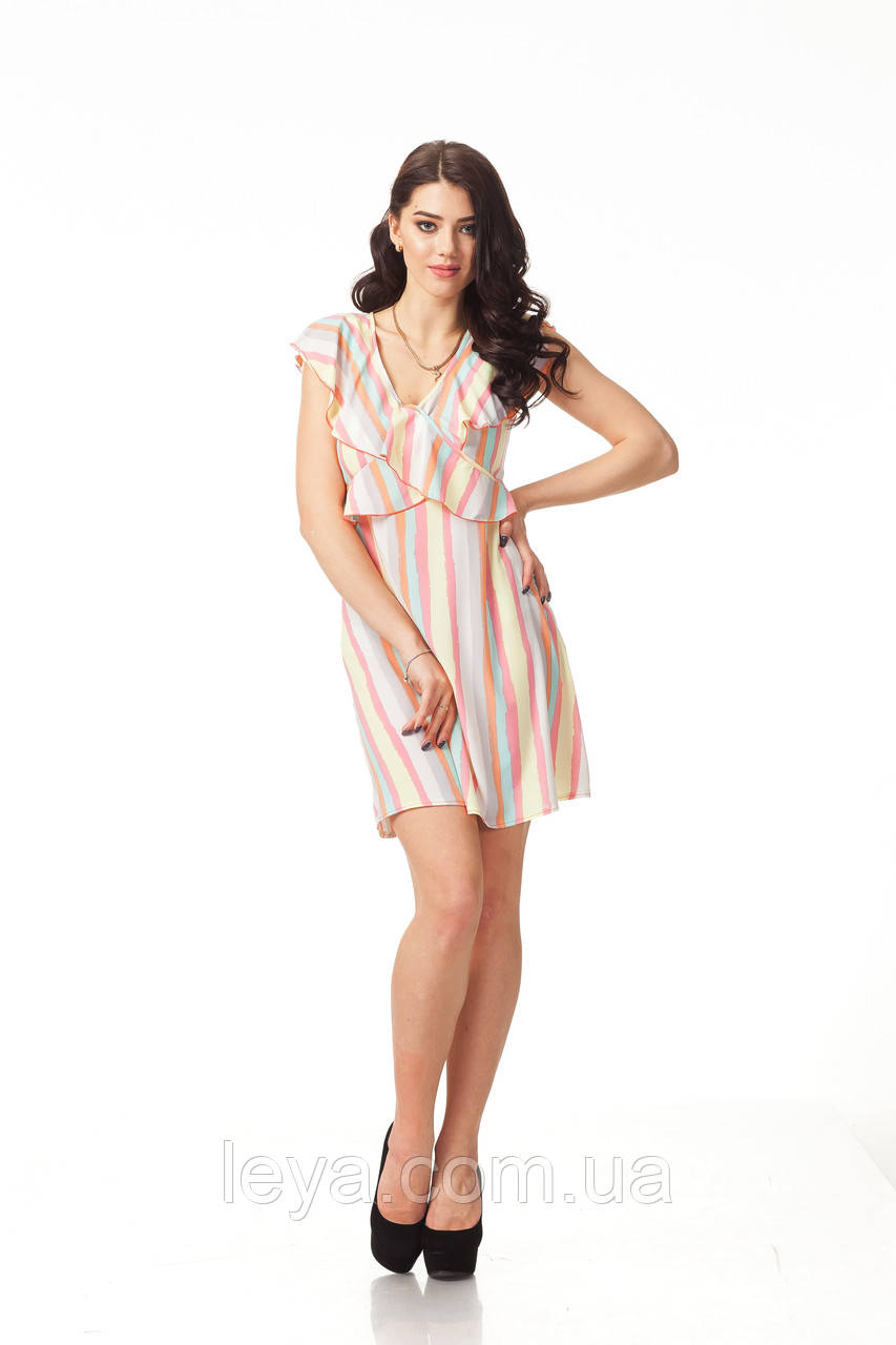 Платье с рюшами по груди оптом. Модель П113_полоска нежная