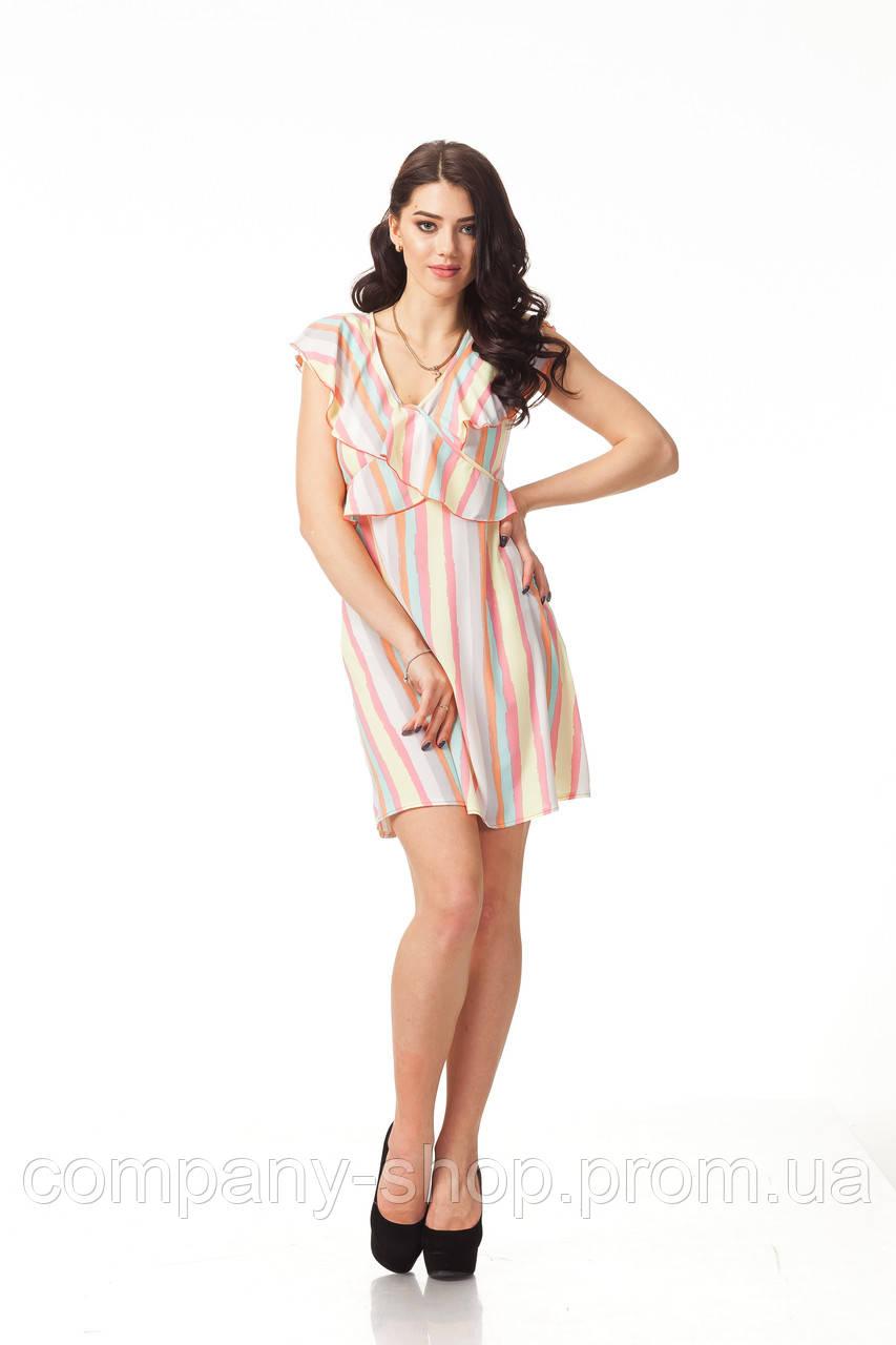 Платье с рюшами по груди оптом. Модель П113_полоска нежная, фото 1