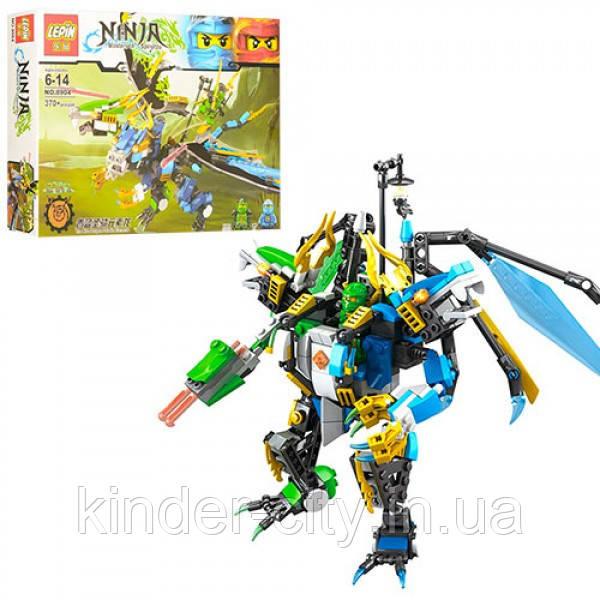 Конструктор NINJA 8904 Лего Ниндзя 2в1(дракон,робот), фигурки, 370дет, в кор-ке, 34-25-6см