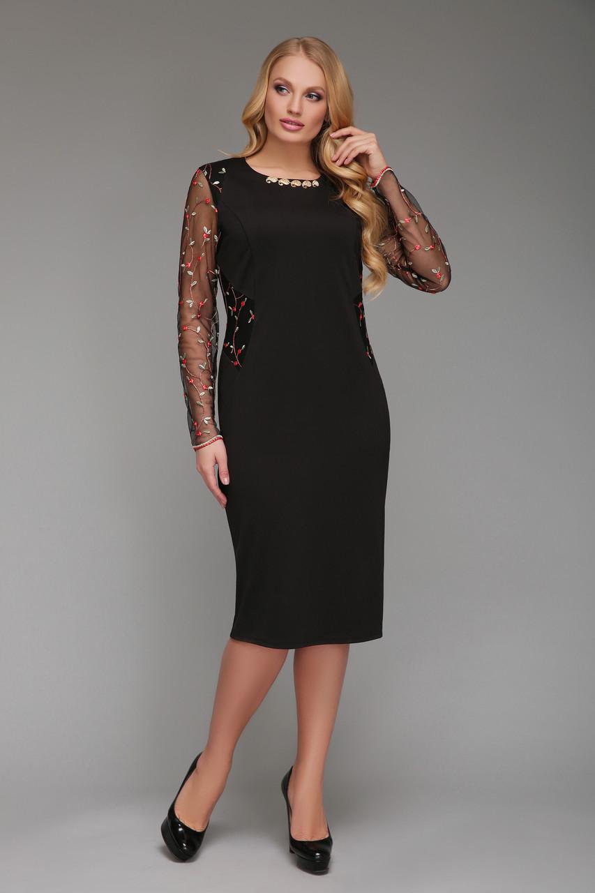 Нарядное  платье Адель черное сетка красные цветы