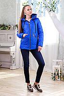 Женская демисезонная куртка В-1091 Лаке Тон 13 электрик 44-58 размеры