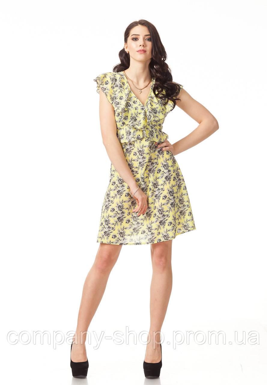 Платье с рюшами по груди оптом. Модель П113_желтый цветочек