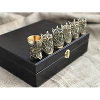 Набор бронзовых чарок Рыси 6шт, фото 1