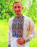 Мужская вышитая сорочка на домотканном лене с гербом., фото 1