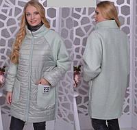 Демисезонное пальто комбинированное, с 48-56 размер