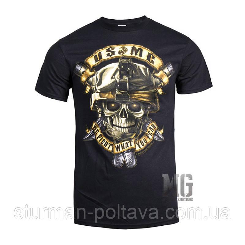 Футболка  мужская  черная  с рисунком  морских сил США we fight what you fear  Rothco США
