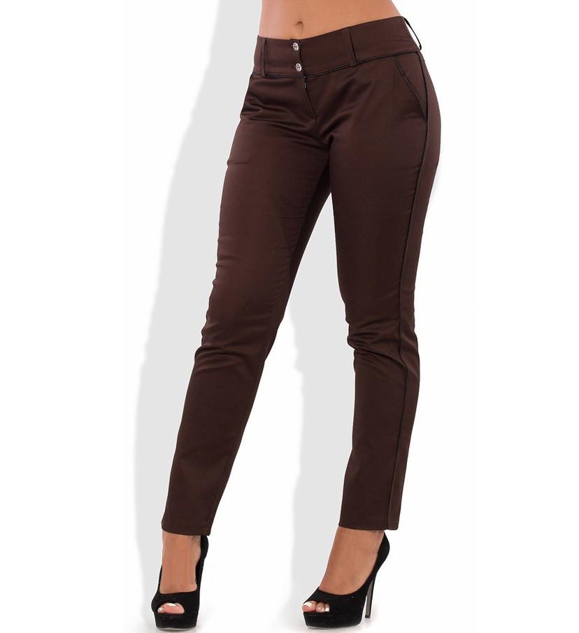 Летние коричневые брюки из стрейч коттона 1314
